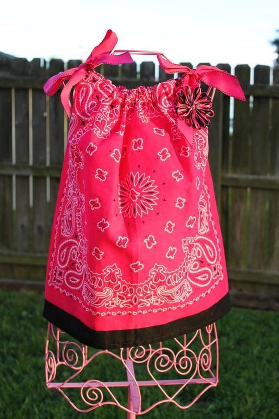 SALE---Hot Pink Bandanna Summer Dress w/ FREE hair bow.