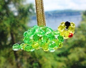 Sun catcher suncatcher Beaded ornament Tortoise turtle baby green yellow by Orchid's Orchard