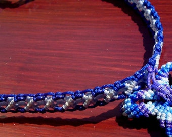 OOAK Macrame Choker necklace Butterfly blue shades knotted by Orchid's Orchard