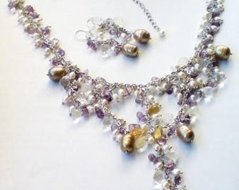 OOAK Necklace Earrings Set Genuine gemstone crystal quartz amethyst citrine white golden pearls by Orchid's Orchard