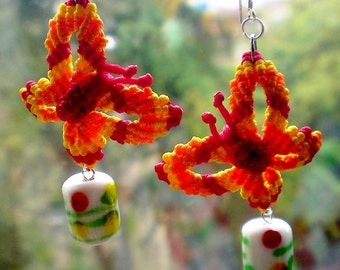 OOAK Earrings Macrame Beads Butterflies red orange yellow knotted by Orchid's Orchard