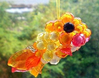 Sun catcher suncatcher Beaded ornament Sunshine goldfish by Orchid's Orchard