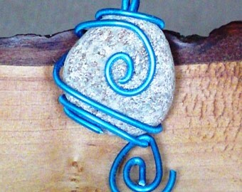 OOAK Pendant Wire wrapped pebble in blue by Orchard's Orchard
