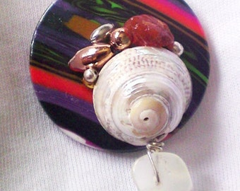 OOAK Brooch badge pin Upcycled back Polymer clay button Vintage beads Sea shell Carnelian Quartz FUNKY by Orchid's Orchard