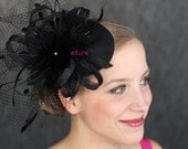 BIRDCAGE VEIL. Feathers headdress. Bridal hat.Charming fascinator, headpiece. Black, navy blue, white, ivory...
