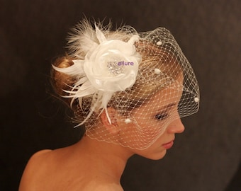 BIRDCAGE VEIL with flower for Amelia