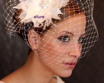 Wedding BIRDCAGE VEIL, Bridal veil, feather flower, ivory  feather fascinator, bridal headpiece, wedding hair flower, crystal brooch.
