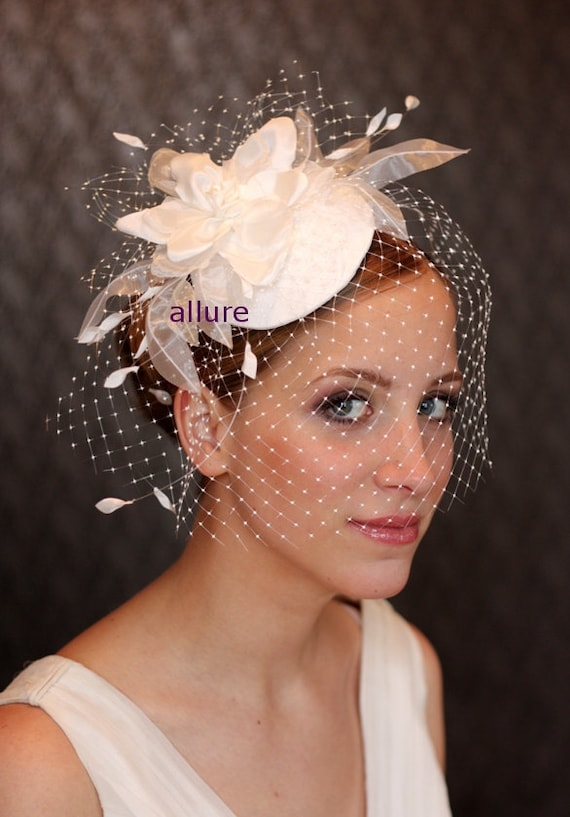BIRDCAGE VEIL , wedding hat, fabulous wedding hair flower, headdress, bridal hat. Amazing bird cage veil with head piece