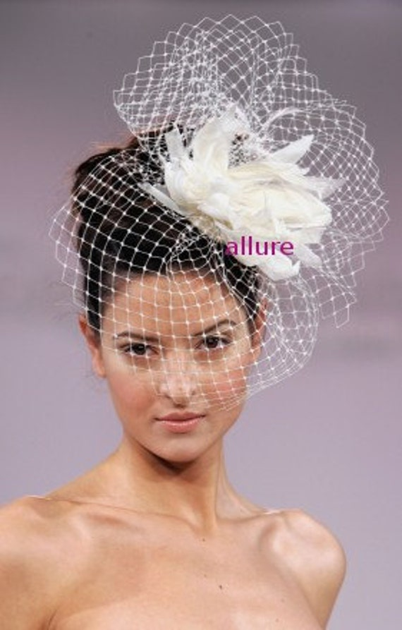 BIRDCAGE VEIL. Feather wedding flower. Fether headdress. Bridal veil. So charming fascinator, headpiece. White, ivory, cream, black