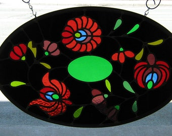 Large Oval Stained glass leaded window panel -FIFTEENTH CENTURY FLOWERS -old technique of fabrication with care,colorful decor,original gift