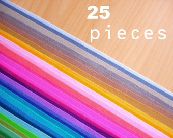 25 wool felt pieces 20x30cm - Choose your colors -Irisfelt-