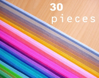 30 wool felt pieces 20x30cm - Choose your colors -Irisfelt-