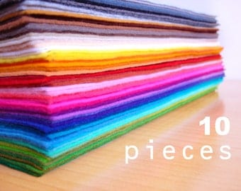 10 wool felt fabric pieces15x20cm - Choose your colors -Irisfelt-