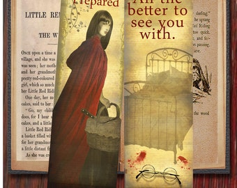 Digital Download. Dark Fairytale Bookmark - Little Red Riding Hood/ The Company of Wolves