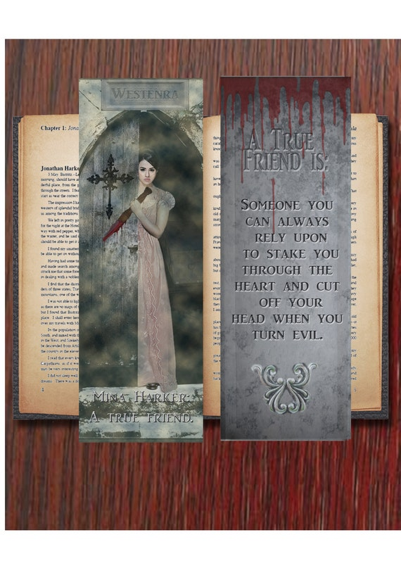 "Digital downloads Mina Harker: ""A True Friend"" - 3 Bookmark with envelope  Fanart - Dracula inspired."