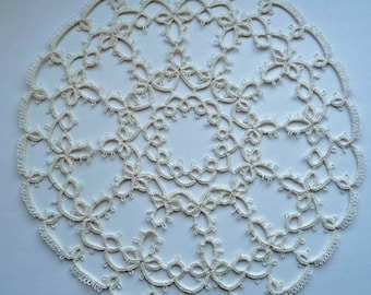 Tatting Lace white doily - handmade doily - Home decor -  Housewarming gift - lace doily - gift for her - gift for wife-new vintage
