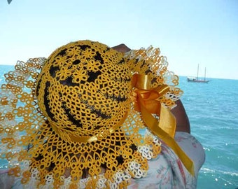 Yellow hat-handmade hat-womens hat-vintage style-summer hat-beach hat-summer fashion-gift for her-summer vacation-gift for wife