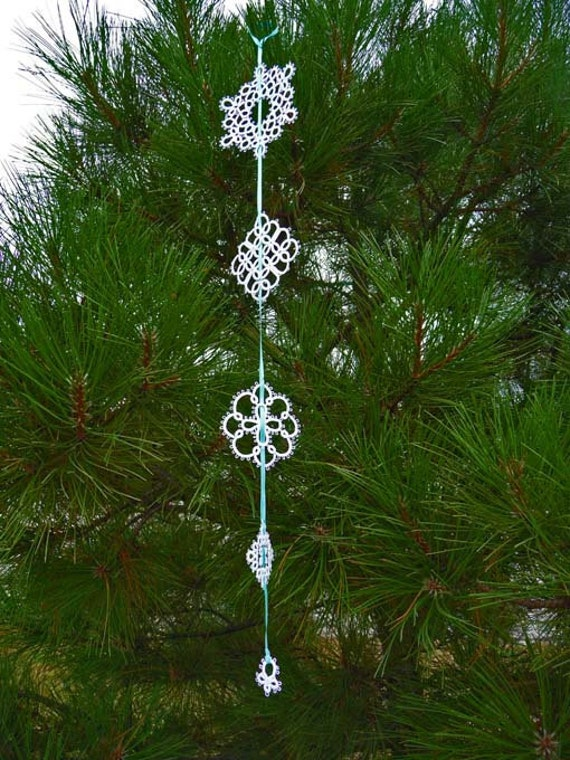 Tatting handmade garland white snowflakes -  wedding decorations -  christmas- home decor