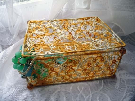 Tatting box jewelry - gift for Her - Home decor - Housewarming