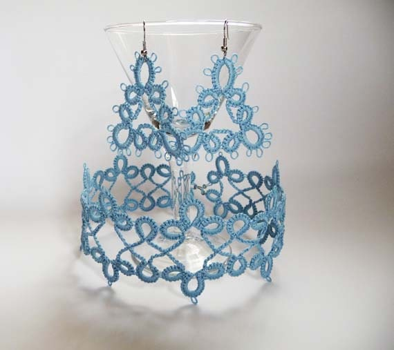 Tatting earrings and necklace pale blue  - gift for Her - Needlecraft  Accessories -  tatting jewerly