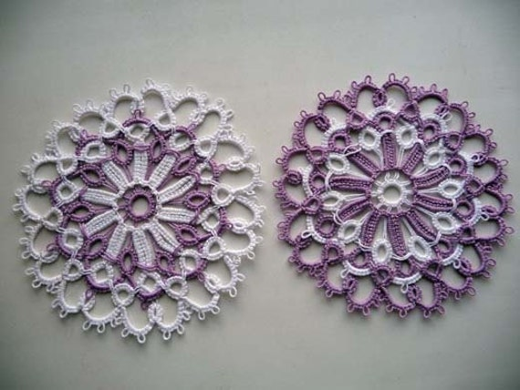 Wedding Lace Coasters  - wedding decor - home decor - tatting needle