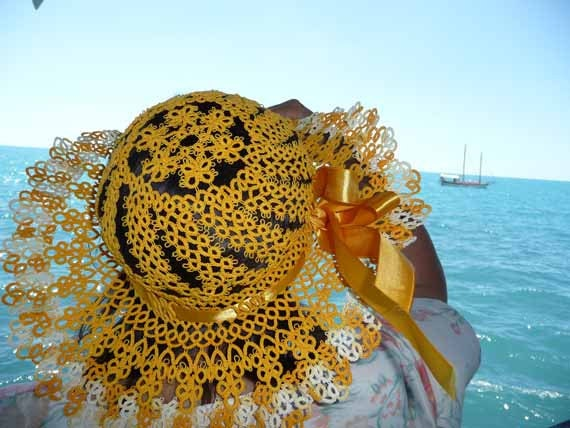 Yellow hat - Summer hat tatting  Marine - Gift for Her - free shipping