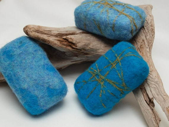 Blue Felted Soaps - Set of Three