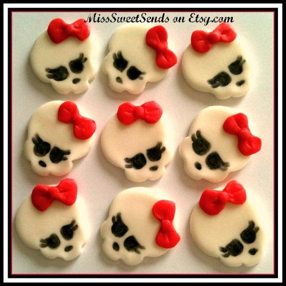 Reserved for Marlene-Fondant Cupcake Skull Toppers