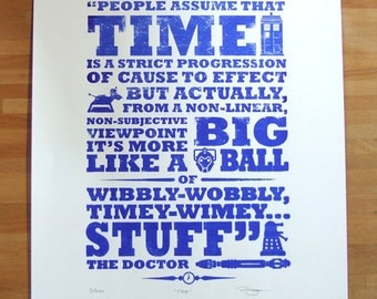 Dr Who Time Hand Pulled Limited Edition Screen Print