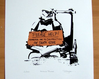 Star Wars Homeless Storm Trooper Hand Pulled Limited Edition Screen Print