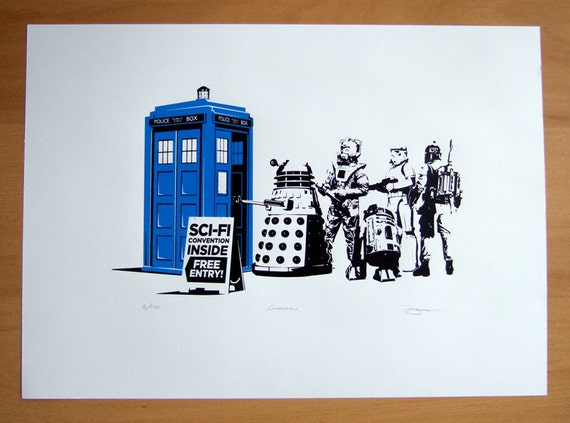 Hand Pulled Limited Edition Dr Who, Star Wars Convention Screen Print