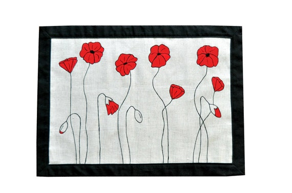 """Placemats - """"Pretty Red Poppies""""  - Set of 4"""