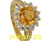 22k Gold Plated Sterling Silver Natural Yellow Citrine  Ring with AAA qality CZ stone