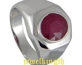 Ruby Precious Stone Sterling Silver Men Ring