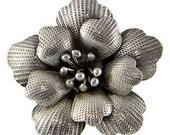 Big Flower Ring, Adjustable Size Sterling Silver Ring/ All Finger fit ring/ Women Sterling silver Ring