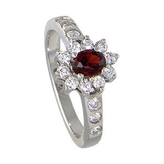 Natural Red Garnet Semi Precious Stone Sterling Silver Ring
