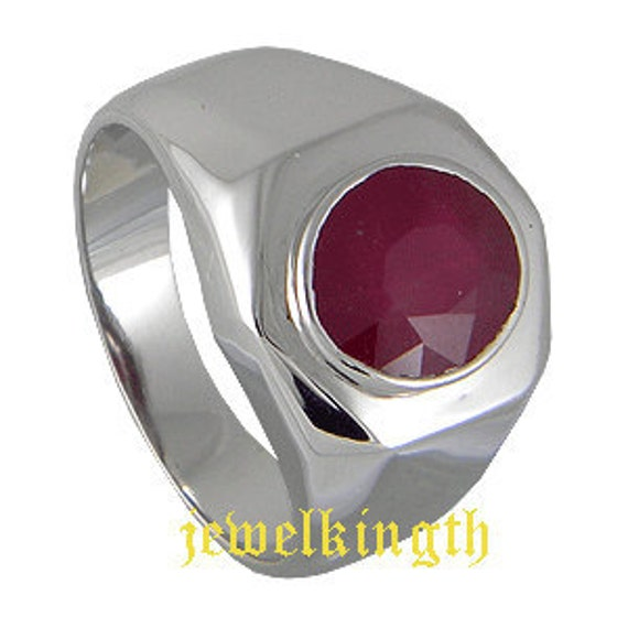 Ruby Precious Stone Sterling Silver Men Ring, 925 Sterling Silver ring,