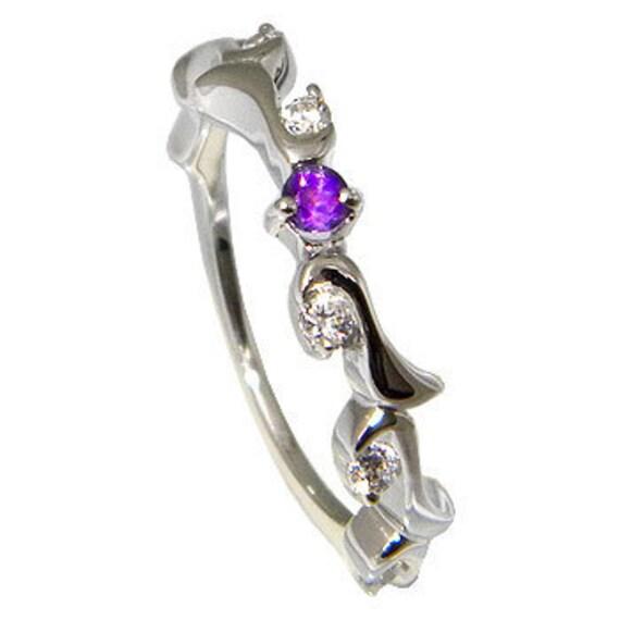 Amethyst Ring, Tiny Gemstone Women Ring, 925 Sterling Silver Dainty Gemstone Ring, Engagement Ring, (MN 58 )