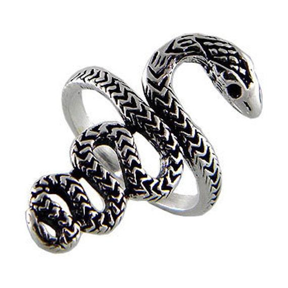 Snake Ring, 925 Sterling Silver Ring, Snake 925 Ring, Black Oxidized Ring, Snake Big Size Ring, Sterling Snake Ring, Women Ring ( OP 637 )