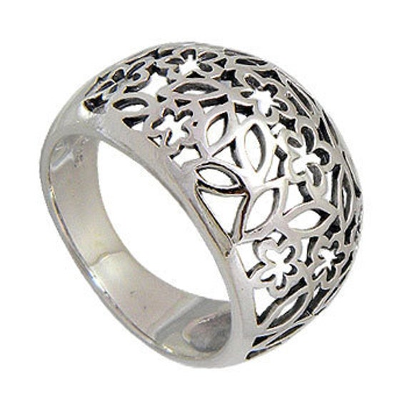 Flower Band Ring, Floral Ring, Sterling Floral Ring, 925 Sterling Silver Ring, Women Ring, Lace Flower Ring, Flower Sterling Ring ( op 438 )