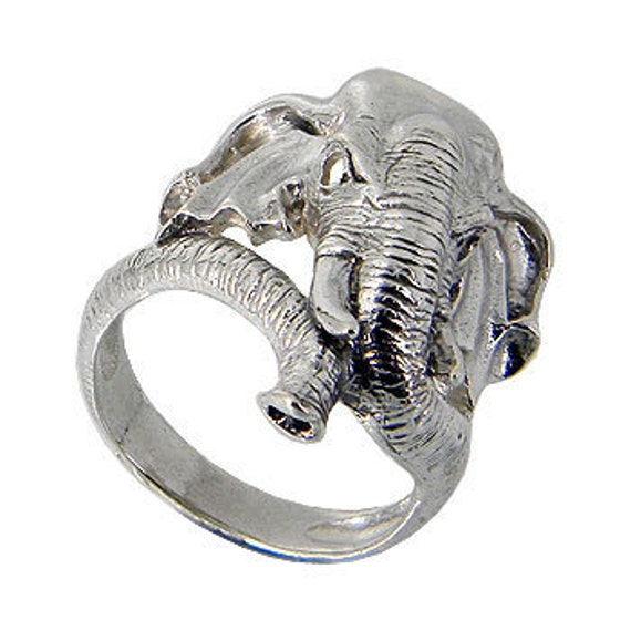Elephant face 925 sterling silver solid wrap ring design with the trunk as wrapping on your finger (OP 456 )