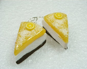 Lemon Cheesecake earrings. Polymer clay.