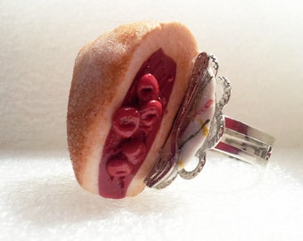 Cherry Pie Ring. Polymer Clay.