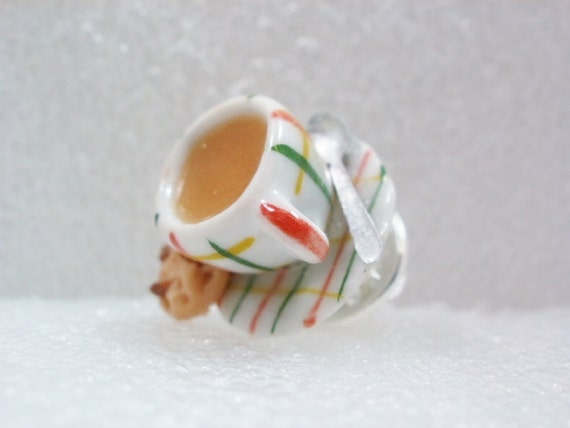 Tea Cup Tie Tack Pin. Polymer Clay.