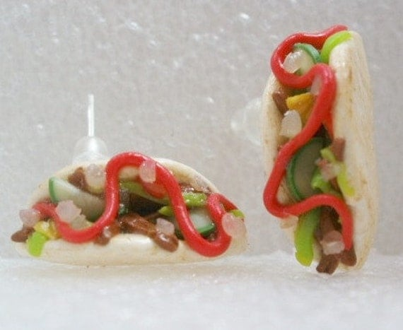 English Kebab Stud earrings. Polymer Clay.