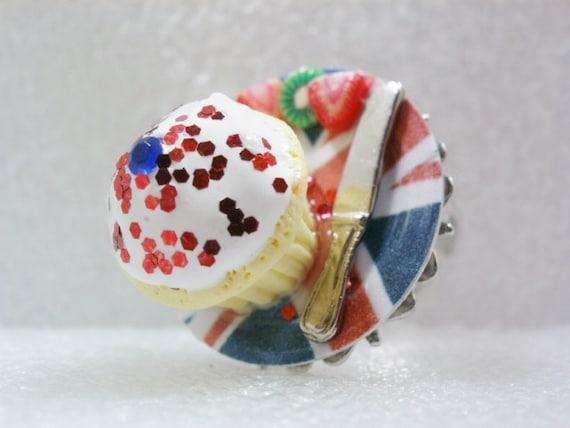 Jubilee Cupcake Ring. Polymer Clay.