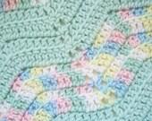 Handknit Pastel Baby Blanket Zig Zag Chevron Pattern