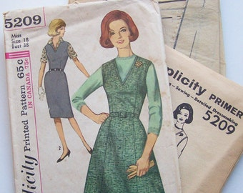 Simplicity 5209 Madmen Era Misses Jumper with 2 Skirt Options Vintage Sewing Pattern Size 18