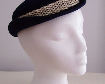 SALE -  Vintage NAVY Felt HAT with Nautical Braided Turks Knot Trim by Elaine Lord