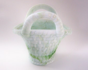 AKRO AGATE Marbleized Vintage Slag Glass - Two Handled Basket - Green & White